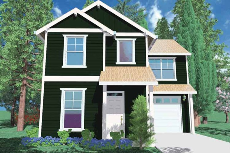 Architectural House Design - Prairie Exterior - Front Elevation Plan #509-113