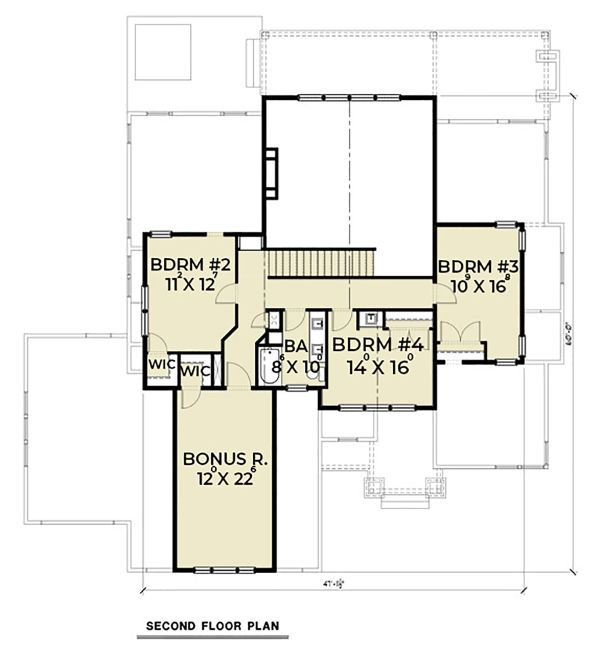 Craftsman Floor Plan - Upper Floor Plan Plan #1070-59