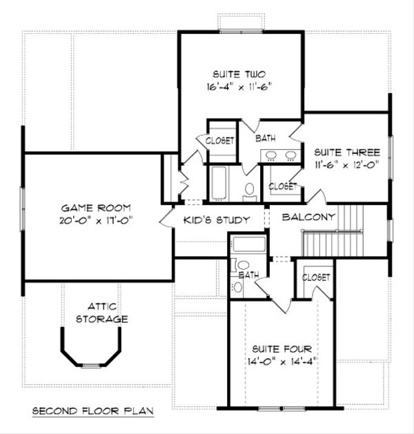 Victorian Floor Plan - Upper Floor Plan Plan #413-882