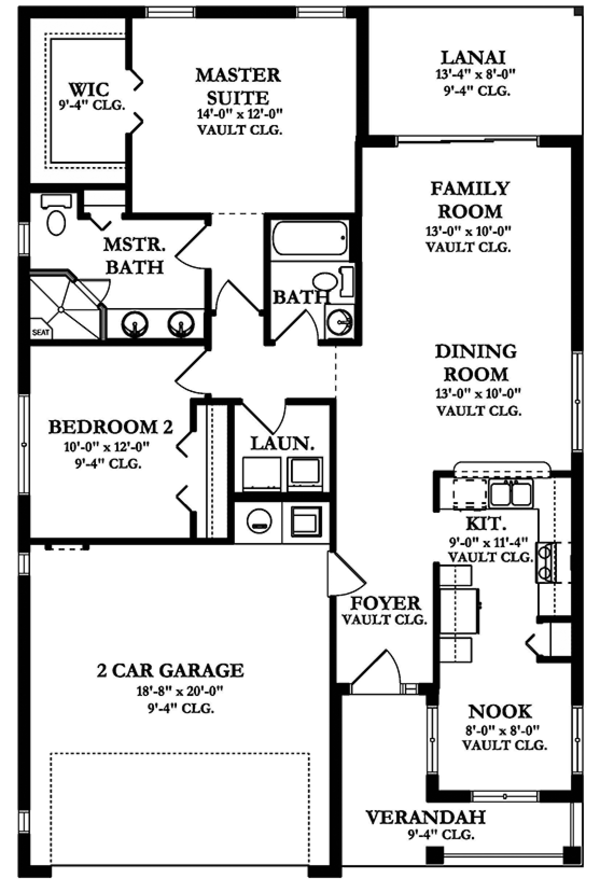 Ranch Floor Plan - Main Floor Plan Plan #1058-100