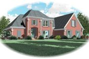 European Style House Plan - 4 Beds 3 Baths 2592 Sq/Ft Plan #81-1003 Exterior - Front Elevation