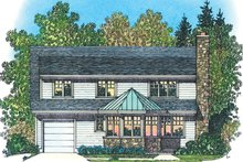 House Plan Design - Colonial Exterior - Rear Elevation Plan #1016-105