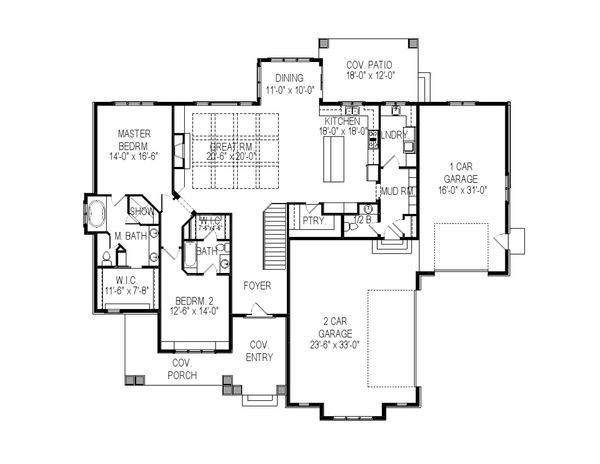 Craftsman Floor Plan - Main Floor Plan Plan #920-33