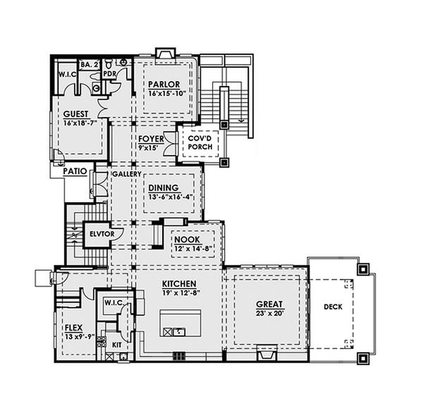 Contemporary Floor Plan - Main Floor Plan Plan #1066-39