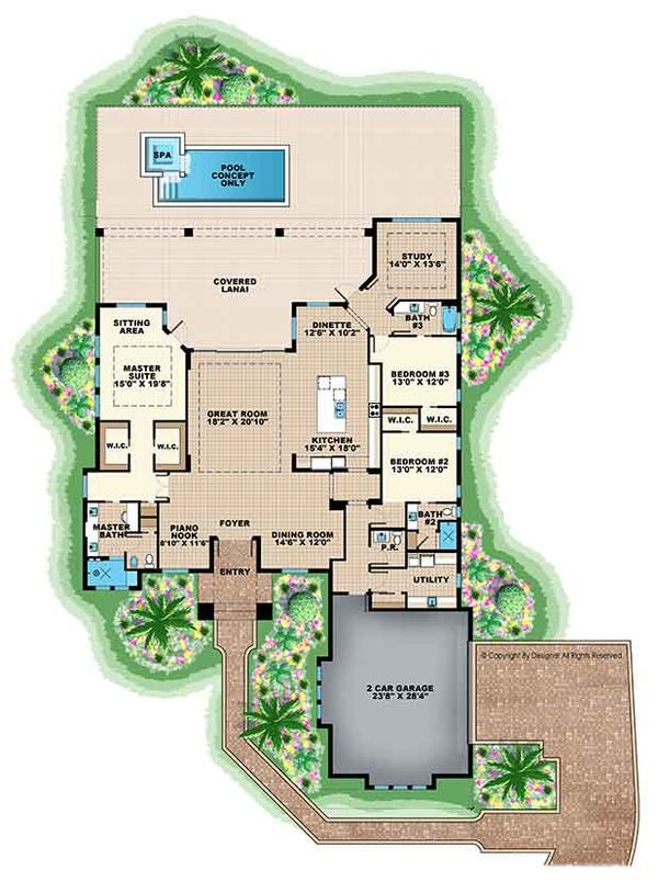 Ranch Floor Plan - Main Floor Plan Plan #1017-164