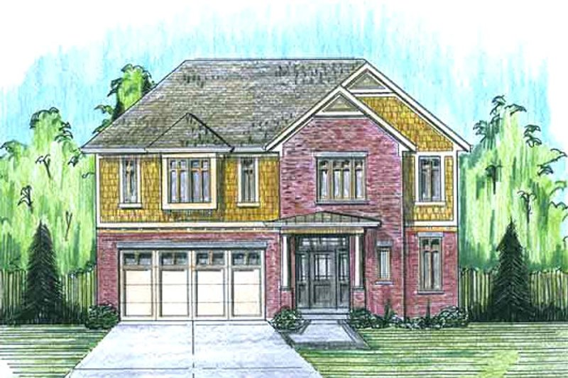 European Exterior - Front Elevation Plan #46-487