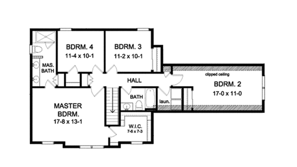 Colonial Floor Plan - Upper Floor Plan Plan #1010-122