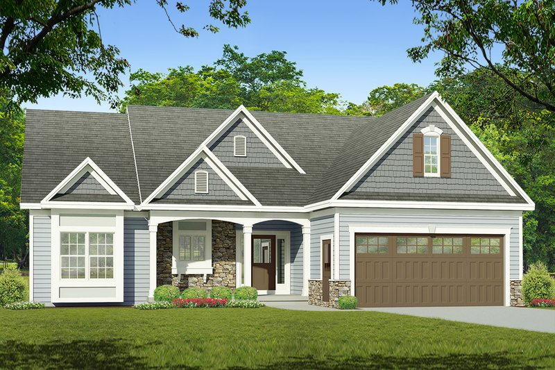 Ranch Style House Plan - 3 Beds 2 Baths 1690 Sq/Ft Plan #1010-218 Exterior - Front Elevation