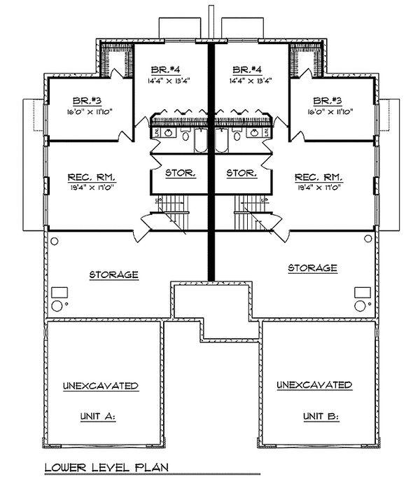 Traditional Floor Plan - Lower Floor Plan Plan #70-1152