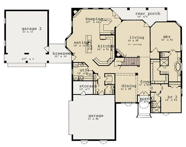 European Floor Plan - Main Floor Plan Plan #36-474
