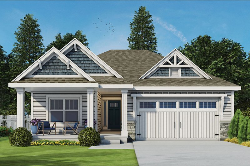 Dream House Plan - Ranch Exterior - Front Elevation Plan #20-2299