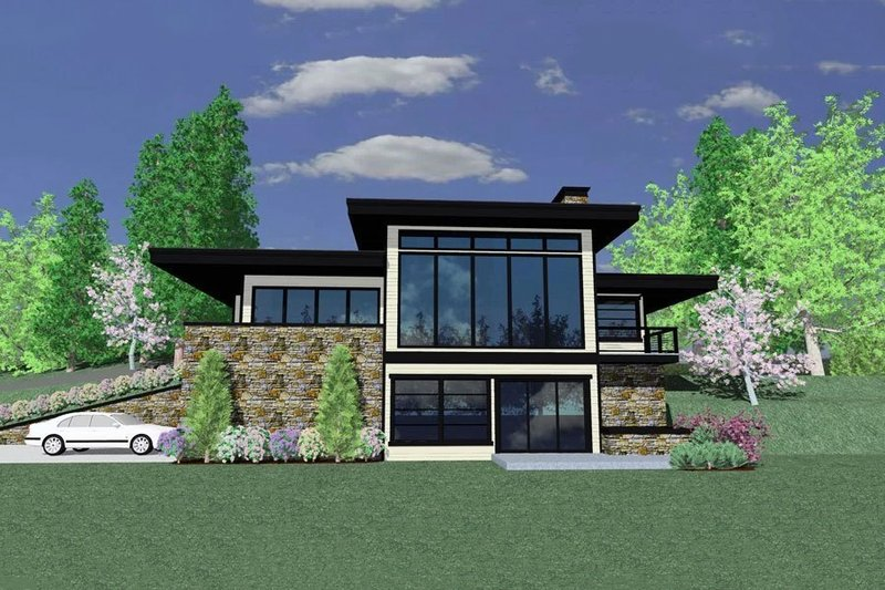 Modern Style House Plan - 1 Beds 2.5 Baths 1887 Sq/Ft Plan #509-42 Exterior - Front Elevation