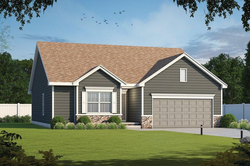Traditional Style House Plan - 3 Beds 2 Baths 1603 Sq/Ft Plan #20-2358 Exterior - Front Elevation