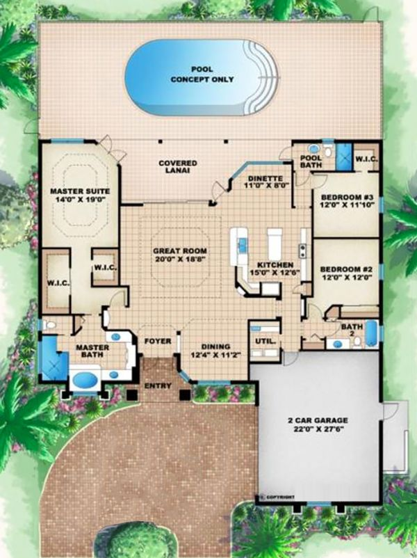 Mediterranean Floor Plan - Main Floor Plan Plan #27-505