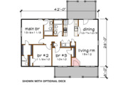 Country Style House Plan - 3 Beds 2 Baths 1092 Sq/Ft Plan #79-118 Floor Plan - Main Floor Plan