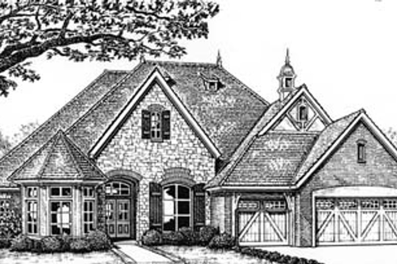 Tudor Style House Plan - 4 Beds 3 Baths 2684 Sq/Ft Plan #310-545 Exterior - Front Elevation