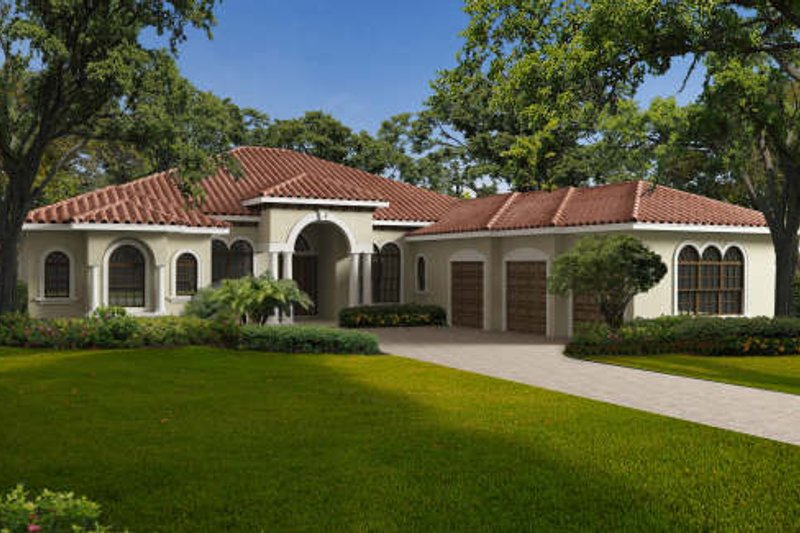 Mediterranean Style House Plan - 5 Beds 6.5 Baths 4087 Sq/Ft Plan #420-283 Exterior - Front Elevation