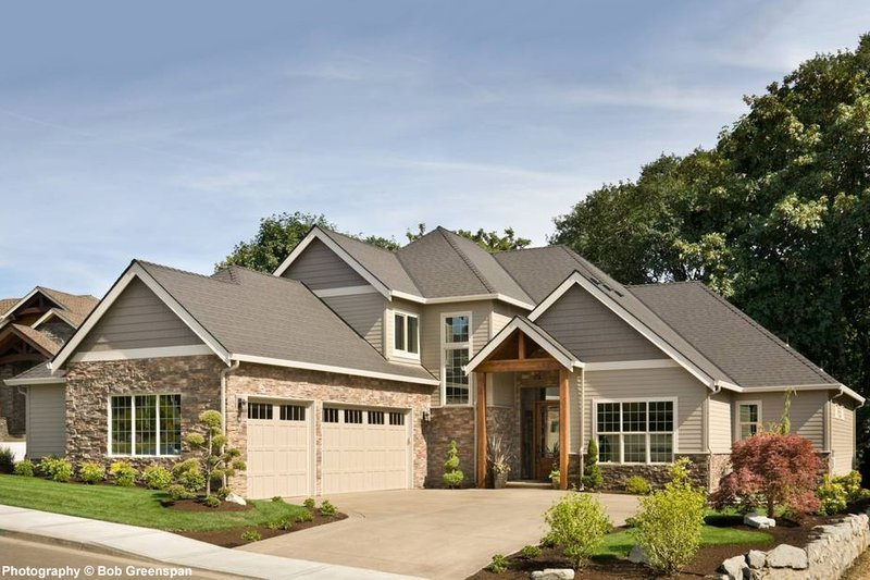 Craftsman style, luxury home, front elevation photo