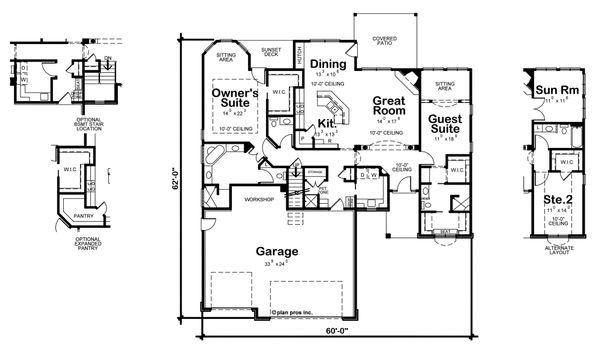 European Floor Plan - Main Floor Plan Plan #20-2079