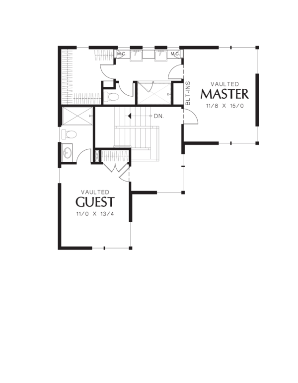 Modern Floor Plan - Upper Floor Plan Plan #48-571