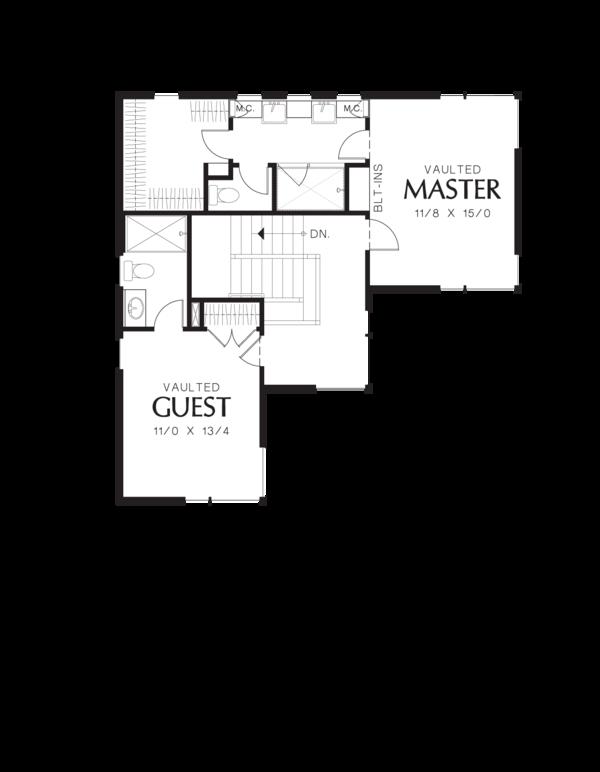 Modern Floor Plan - Upper Floor Plan Plan #48-571