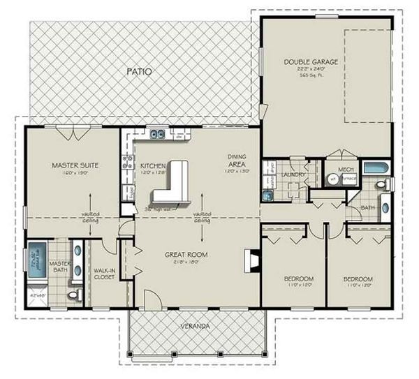 Dream House Plan - Ranch Floor Plan - Main Floor Plan #18-9545