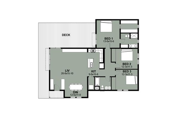 Ranch Floor Plan - Main Floor Plan Plan #497-12