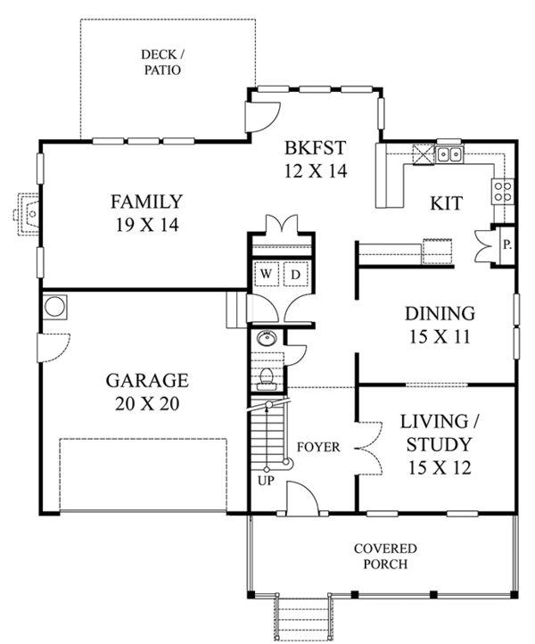 Colonial Floor Plan - Main Floor Plan Plan #1053-67