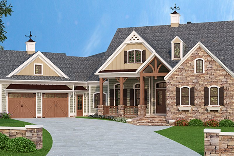 European Style House Plan - 4 Beds 4.5 Baths 5236 Sq/Ft Plan #927-966 Exterior - Front Elevation