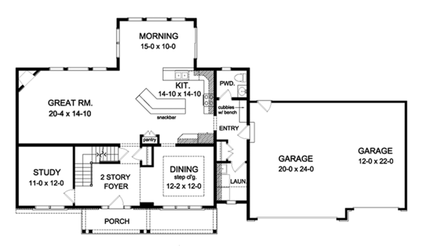 Colonial Floor Plan - Main Floor Plan Plan #1010-162