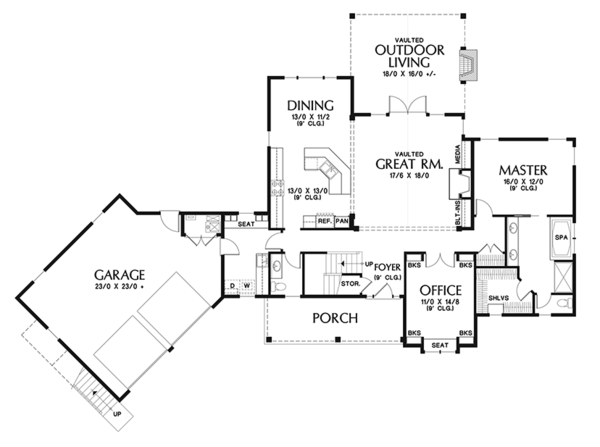 Craftsman Floor Plan - Main Floor Plan Plan #48-923