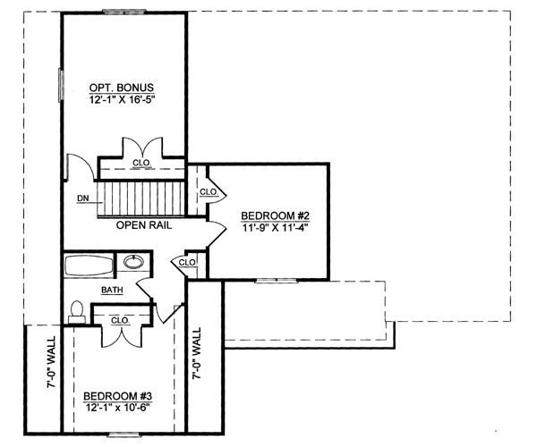 Colonial Floor Plan - Upper Floor Plan Plan #119-258