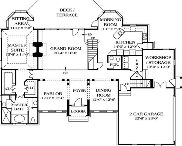 Traditional Floor Plan - Main Floor Plan Plan #453-38