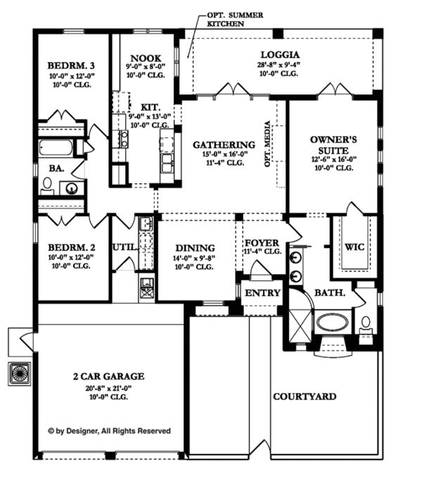 Mediterranean Floor Plan - Main Floor Plan Plan #1058-5