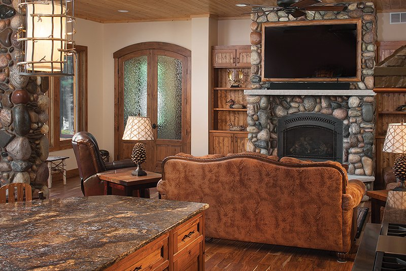 Log Interior - Family Room Plan #928-263 - Houseplans.com