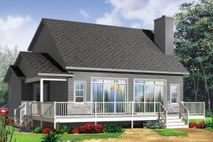 Cottage Exterior - Rear Elevation Plan #23-2711