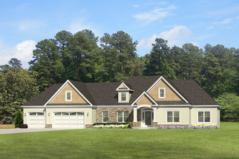 Ranch Exterior - Front Elevation Plan #1010-85
