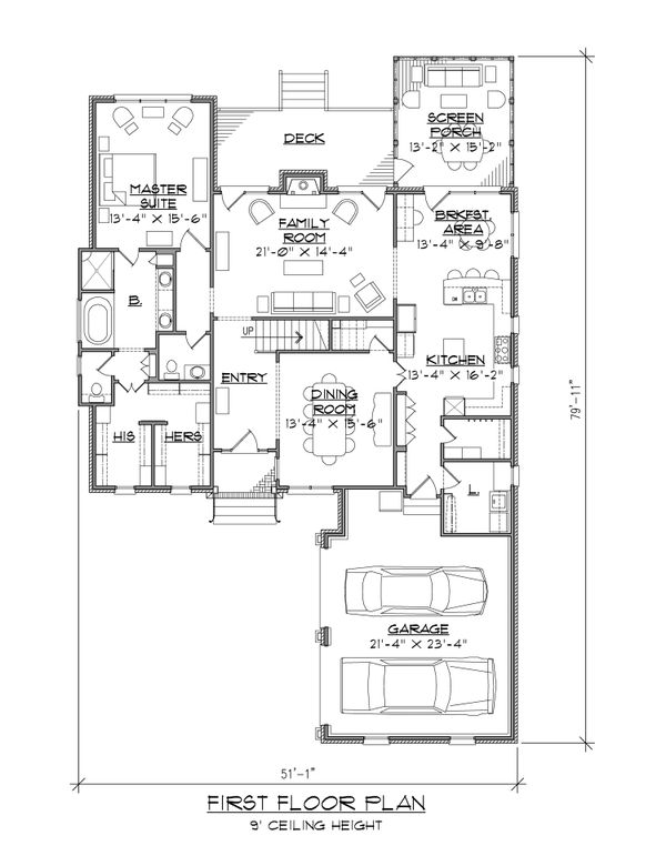 Traditional Floor Plan - Main Floor Plan Plan #1054-40