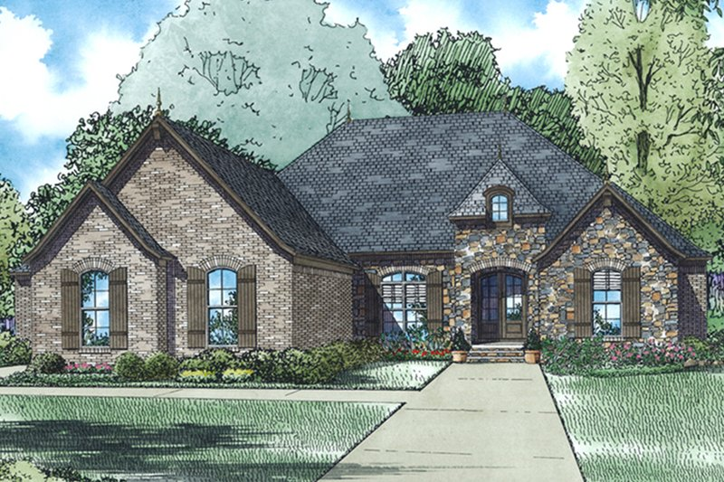 European Exterior - Front Elevation Plan #17-3389