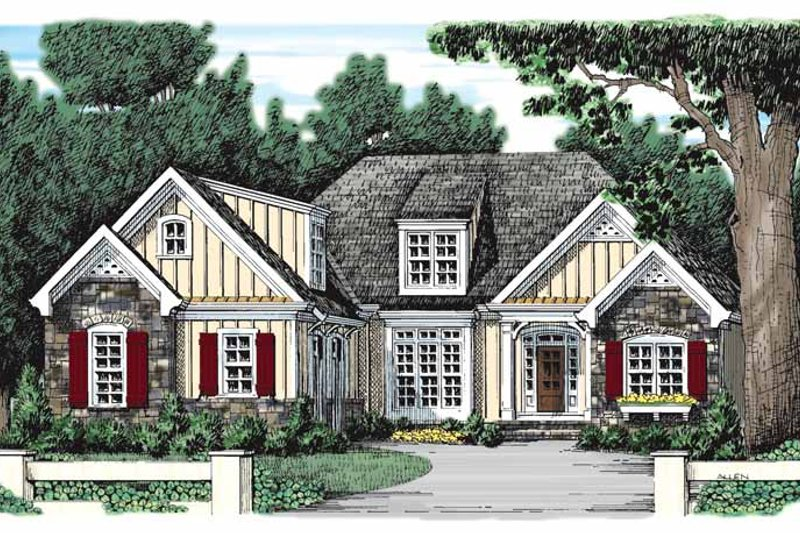 Country Exterior - Front Elevation Plan #927-933