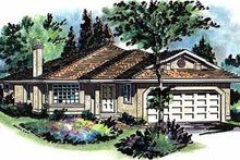 House Blueprint - Ranch Exterior - Front Elevation Plan #18-136