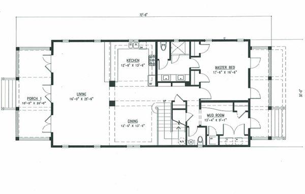 Beach Style House Plan - 4 Beds 3.5 Baths 2802 Sq/Ft Plan #443-8 Floor Plan - Main Floor Plan