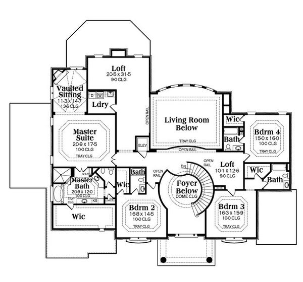 Colonial Floor Plan - Upper Floor Plan Plan #419-235