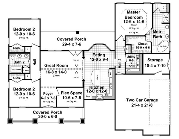 Country Floor Plan - Main Floor Plan Plan #21-352