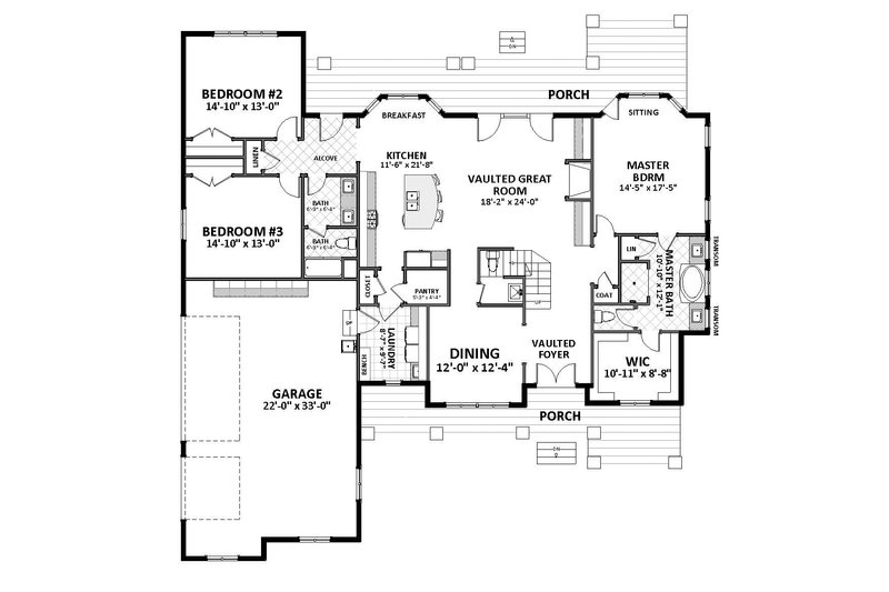Craftsman Floor Plan - Main Floor Plan Plan #898-52