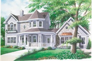 Victorian Exterior - Front Elevation Plan #23-2016