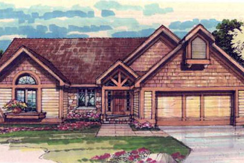 Bungalow Style House Plan - 3 Beds 2 Baths 1709 Sq/Ft Plan #320-305 Exterior - Front Elevation
