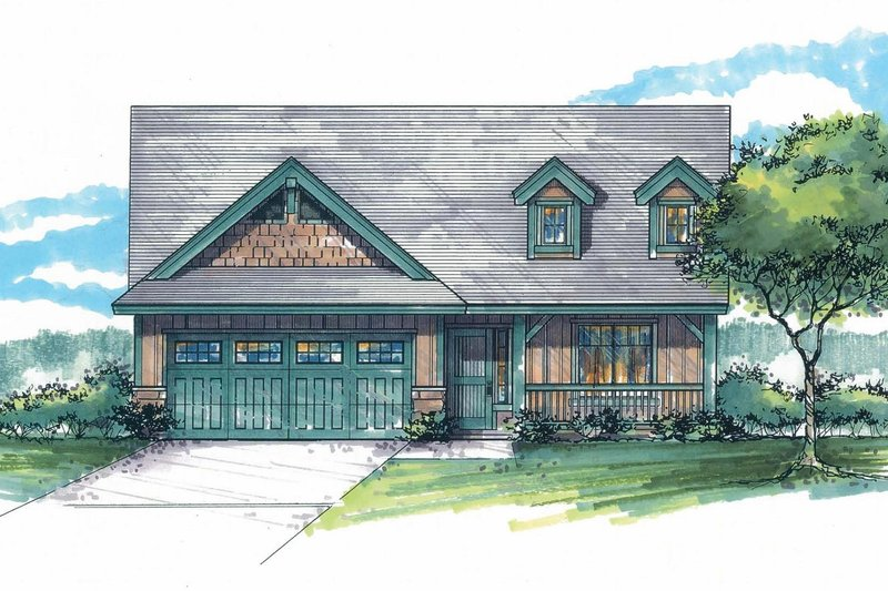 Craftsman Exterior - Front Elevation Plan #53-593