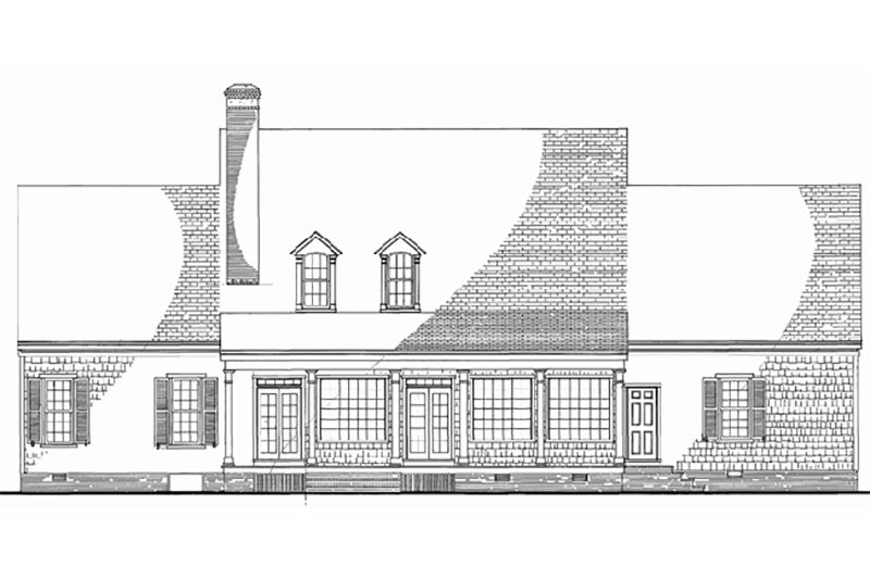 Southern Exterior - Rear Elevation Plan #137-152 - Houseplans.com