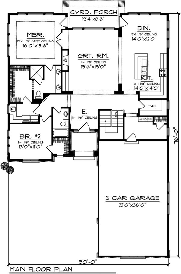 Ranch Floor Plan - Main Floor Plan Plan #70-1096